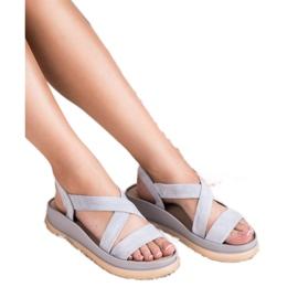 SHELOVET Wsuwane Sandały Na Platformie szare 4