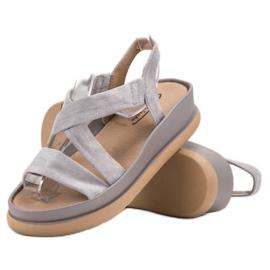 SHELOVET Wsuwane Sandały Na Platformie szare 1