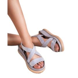 SHELOVET Wsuwane Sandały Na Platformie szare 5