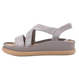 SHELOVET Wsuwane Sandały Na Platformie szare 2