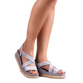 SHELOVET Wsuwane Sandały Na Platformie szare 3