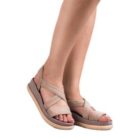 SHELOVET Wsuwane Sandały Na Platformie brązowe 5