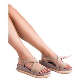 SHELOVET Wsuwane Sandały Na Platformie brązowe 2