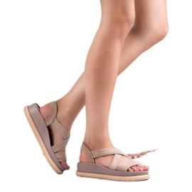 SHELOVET Wsuwane Sandały Na Platformie brązowe 1