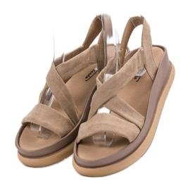 SHELOVET Wsuwane Sandały Na Platformie brązowe 3