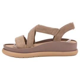 SHELOVET Wsuwane Sandały Na Platformie brązowe 4