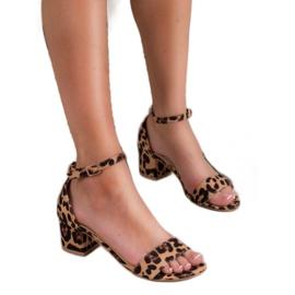 SHELOVET Klasyczne Sandałki W Cętki brązowe 2