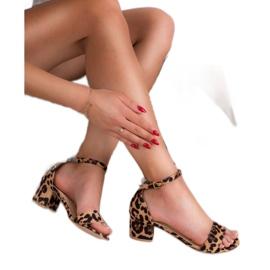 SHELOVET Klasyczne Sandałki W Cętki brązowe 3