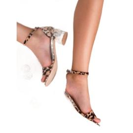 SHELOVET Klasyczne Sandałki W Cętki brązowe 1