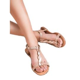 Mannika Różowe Płaskie Sandały 6