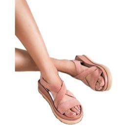 SHELOVET Wsuwane Sandały Na Platformie różowe 1