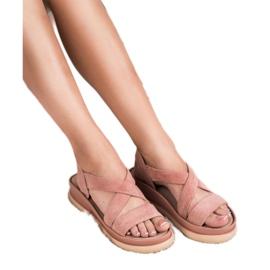 SHELOVET Wsuwane Sandały Na Platformie różowe 2