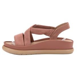 SHELOVET Wsuwane Sandały Na Platformie różowe 3