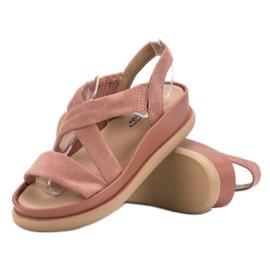 SHELOVET Wsuwane Sandały Na Platformie różowe 4