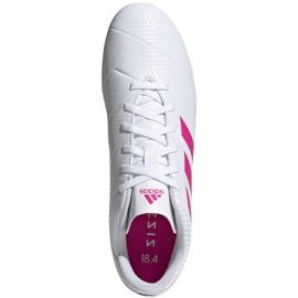 Buty piłkarskie adidas Nemeziz 18.4 FxG M D97990 białe niebieski, biały 1