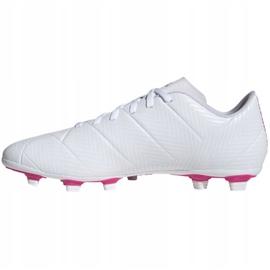 Buty piłkarskie adidas Nemeziz 18.4 FxG M D97990 białe niebieski, biały 2