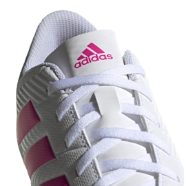 Buty piłkarskie adidas Nemeziz 18.4 FxG M D97990 białe niebieski, biały 3