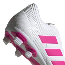 Buty piłkarskie adidas Nemeziz 18.4 FxG M D97990 białe niebieski, biały 4