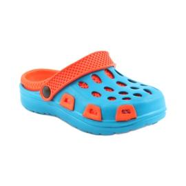 Klapki Aqua-speed niebieskie pomarańczowe 1