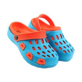 Klapki Aqua-speed niebieskie pomarańczowe 4