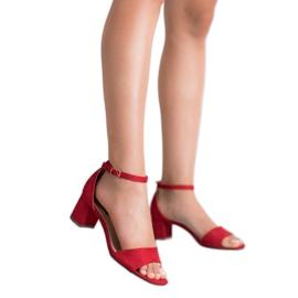 Super Me Wygodne Sandałki Na Słupku czerwone 3