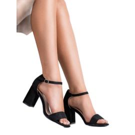 Diamantique Eleganckie Zamszowe Sandałki czarne 1