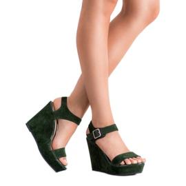 Vinceza Zamszowe Sandały zielone 3