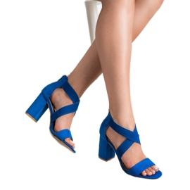 Chabrowe Sandały Na Suwak VINCEZA niebieskie 1