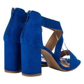 Chabrowe Sandały Na Suwak VINCEZA niebieskie 4