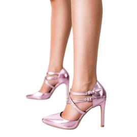 Kylie Błyszczące Szpilki Fashion różowe 4