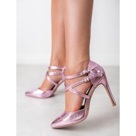 Kylie Błyszczące Szpilki Fashion różowe 7