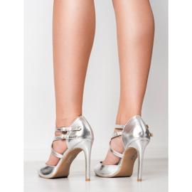 Kylie Błyszczące Szpilki Fashion szare 6