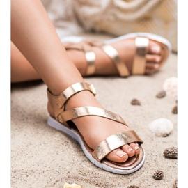 SHELOVET Sandały Zapinane Sprzączką żółte 1