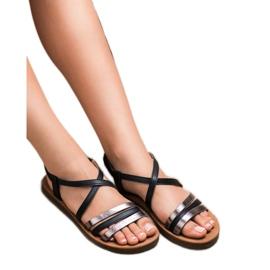 Super Mode Modne Wsuwane Sandałki czarne 2