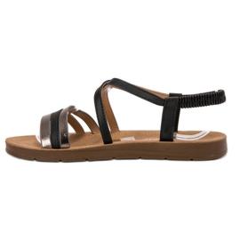 Super Mode Modne Wsuwane Sandałki czarne 1