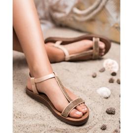 Forever Folie Sandały Z Cyrkoniami brązowe 5