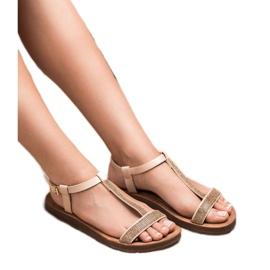 Forever Folie Sandały Z Cyrkoniami brązowe 4