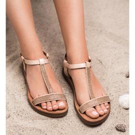 Forever Folie Sandały Z Cyrkoniami brązowe 3