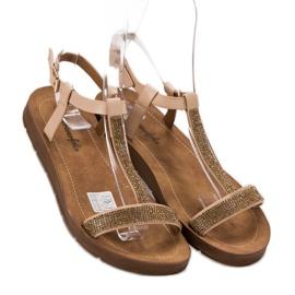 Forever Folie Sandały Z Cyrkoniami brązowe 1