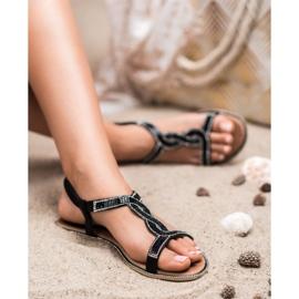 SHELOVET Zdobione Sandałki Z Gumką czarne 2