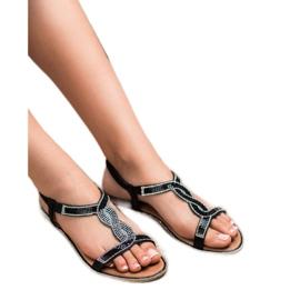SHELOVET Zdobione Sandałki Z Gumką czarne 1
