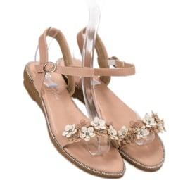 Forever Folie Sandałki Z Kwiatami różowe 1