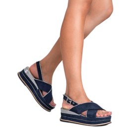 Lily Shoes Sandały Zapinane Sprzączką niebieskie 1