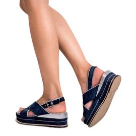 Lily Shoes Sandały Zapinane Sprzączką niebieskie 2