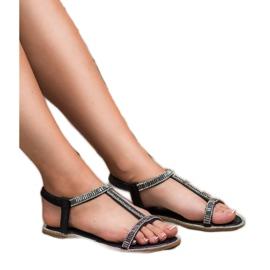 SHELOVET Płaskie Sandałki Z Kryształkami czarne 1