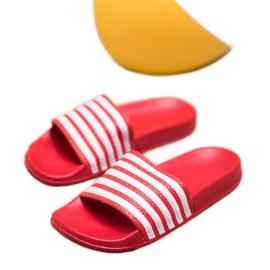 SHELOVET Sportowe Klapki W Paski czerwone 4