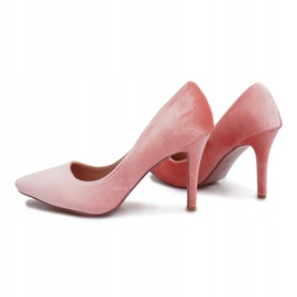Różowe Welurowe Szpilki Francine 5