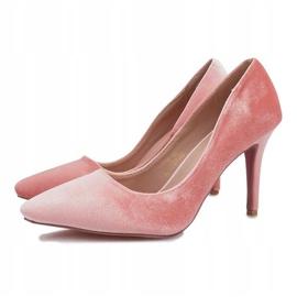 Różowe Welurowe Szpilki Francine 9