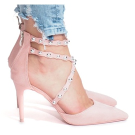 Różowe szpilki sandałki B-50 3