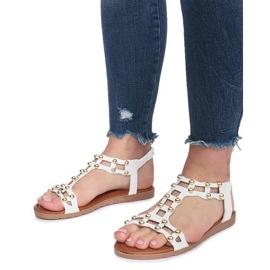 Białe płaskie sandały rzymianki Summer 5